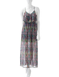 Sequin Hearts Women's Tribal Print Popover Maxi Dress - Multi - Size: S