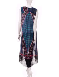 Signature Studio Women's Tribal Print Fringe Vest - Blue / Pink - Size: S