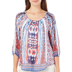 Figueroa & Flower Women's Button Up Print Mix Top - Multi - Size: Large