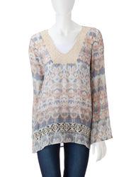 Women's Grey & Beige Abstract Print Tunic Top - Multi - Size: Medium