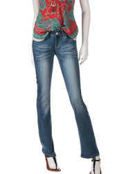 Almost Famous Women's Knit Denim Bootcut Jeans - Medium Wash - Size: 5
