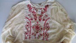 Muk Luks Women's Fringe Poncho Sweater - Vanilla - Size: S