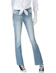 Sound Girl Women's Light Wash Embroidered Bootcut Jeans - Blue - Size: 9