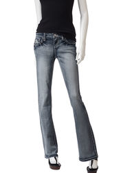 Wishful Park Girls Potassium Wash Bootcut Jeans - Dark Blue - Size: 9