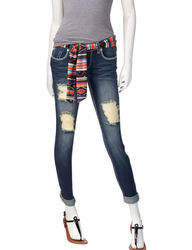 Almost Famous Women's Striped Belt Ankle Jeans - Dark Wash - Size: 13