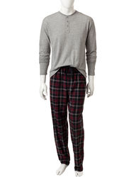 Izod Men's 2-Piece Black Fleece Top & Plaid Flannel Pant - Black - Size: XL