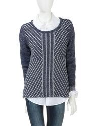 Hannah Blue & White Angled Striped Knit Sweater - Blue - Size: Medium