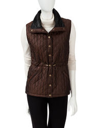 Hannah Women's Solid Color Iridescent Anorak Vest - White- Size: XL