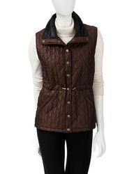 Hannah Women's Solid Color Iridescent Anorak Vest - Burgandy - Size: XL