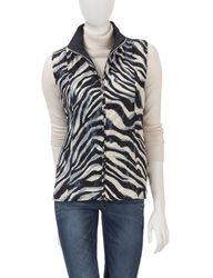 Hannah Women's Zebra Print Reversible Quilted Vest - Navy - Size: XL