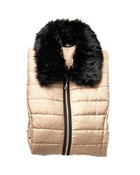 Hannah Women's Solid Color Faux Fur Accent Puffer Vest - Gold - Size: L