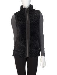 Hannah Women's Solid Color Reversible Faux Fur Puffer Vest - Black - Sz: L
