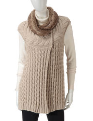 Hannah Women's Faux Fur Trim Cable Knit Vest - White - Size: Large
