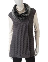 Hannah Women's Heather Eclipse Cable Knit Vest - Black - Size: Medium