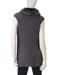 Hannah Women's Heather Eclipse Faux Fur Trim Cable Knit Vest - Black - L