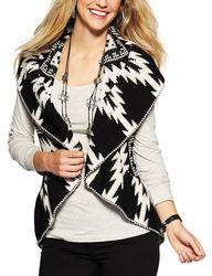 Hannah Women's Black & White Tribal Print Cozy Vest - White - Small