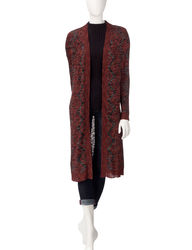US Sweaters Women's Burnout Knit Cardigan - Red/Black - Size: L