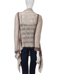 Energe Women's Striped Open Knit Cardigan - Cream - Size: Small