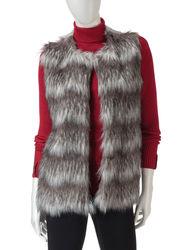 Hannah Women's Nordic Faux Fur Fair Isle Knit Back Vest - Grey - Size: XL