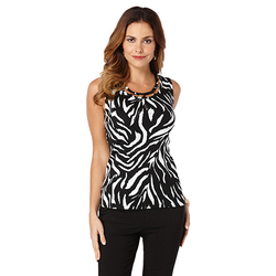 Rafaella Women's Sleeveless Zebra Print Top -Size:1 -  Black/White