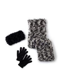Cejon 3 Pcs Spacedye Poodle Muffler Set - Black - Size: One Size