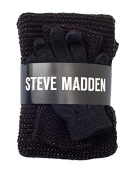 Steve Madden 3 Pcs Women's Metallic Scarf & Glove Set - Black - Size: S
