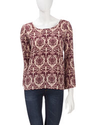 Signature Studio Women's Maroon Blues Tapestry Print Top - Red - Sz: L