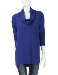 Hannah Women's Leo & Nicole Solid Color Cowl Tunic Sweater - Blue -Size: M