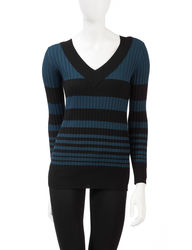 AGB Women's Graduated Striped Print Ribbed Knit Sweater - Purple - Size: M