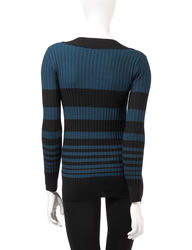 AGB Women's Graduated Striped Print Ribbed Knit Sweater - Teal - Size: S