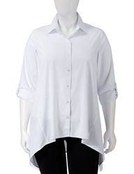 Zac & Rachel Women's Solid Color Sharkbite Top - White - Size: 2X