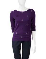 Ruby Rd. Women's Sparkling Rhinestone Sweater - Purple - Size: Large