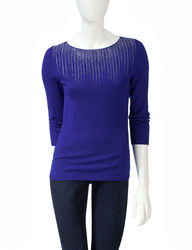 Ruby Rd. Sweater Girl Solid Color Sparkling Icicle Sweater - Cobalt -Large