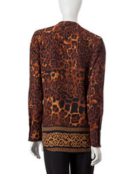 Valerie Stevens Women's Cheetah Print Tunic Top - Brown - Size: Medium