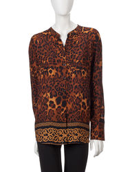 Valerie Stevens Women's Renaissance Cheetah Print Tunic Top- Brown- Sz: XL