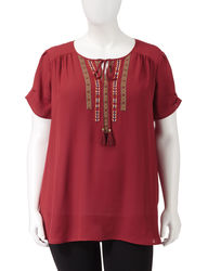 Signature Studio Women's Tribal Embroidered Peasant Top -Burgundy -Size:3X