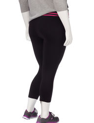 LA Threads Women's Plus Waist-Strip Yoga Capris - Black/Pink - Size: 1XL