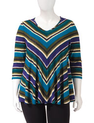 NY Collection Women's Angled Striped Print Trapeze Top - Blue - 1X