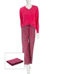 Wishful Park Women's 3-pc. Pink Zebra Print Pajama Set- Pink/Grey- Size: M