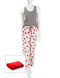 Wishful Park Women's 3Pc Print Pajama + Blanket Set - Red/Grey