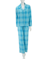 Hannah Women's 2-Pc Tonal Print Plush Pajama Set - Blue Plaid - Size: L