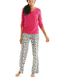 Hannah 2-pc Women's Pajama Set - Pink/ Cheetah - Size: Large