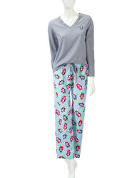 Hannah 2-pc Women's Penguin Print Pajama Set - Blue & Grey - Size: Medium