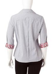 Zac & Rachel Women's Striped Print Blouse - Black/White - Size: 2X