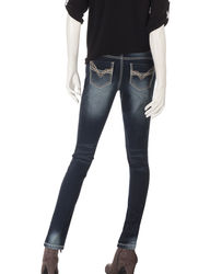 Almost Famous Women's Dark Wash Skinny Jeans - Blue - Size:1
