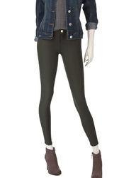YMI Girl's Hyper Fleece Lined Skinny Jeans - Dark Olive - Size: Large