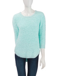 Hannah Women's Solid Color Fuzzy Knit Sweater - Mint - Size: Medium