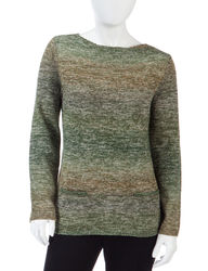 NY Collection Women's Petites Marled Knit Pocket Sweater - Green Multi - P/L