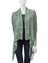 Energe Women's Solid Color Mixed Knit Cascading Cardigan - Green - Size: L