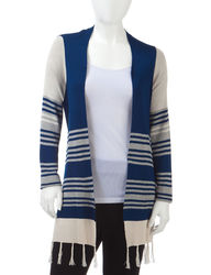 Energe Women's Petites Tribal Striped Print Cardigan - Navy & Grey